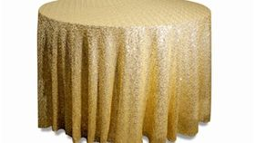 """Image of a 120"""" Round Sequin Tablecloths ~ Champagne"""