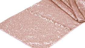 "Image of a 12"" x 108' Sequin Runners Rose Gold"