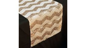 "Image of a 14"" x 108' Sequin Runners Champagne & White Chevron"