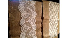 "Image of a 12"" x 108' Burlap Runners Inside Lace"