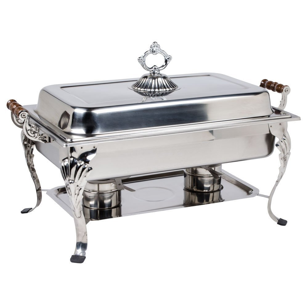 Picture Of A Fancy Stainless Steel Chafing Dishes Rectangle Lift Top 8 Qt
