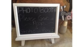 Image of a Chalkboard, Tri-Stand Wood Easel ~ White