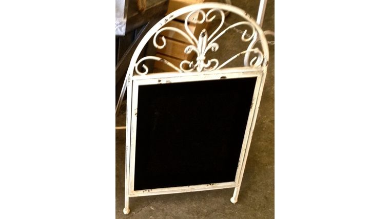 Picture of a Chalkboard, Metal Tabletop Easel with Fleur-de-lis~ White