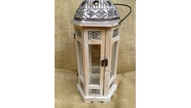 Image of a Extra Large Lantern Vintage Wood~ White