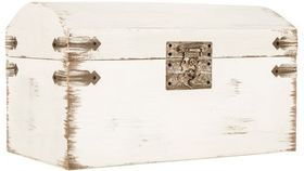 Image of a Card Holder ~ White Washed Wood Treasure Chest