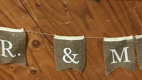Image of a Banner ~ Burlap Mr. & Mrs.
