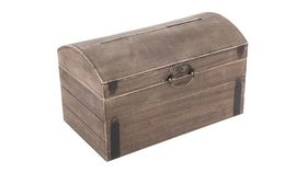 Image of a Card Holder ~ Brown Stain Wood Treasure Chest