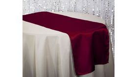 """Image of a 14"""" x 108' Satin Table Runner ~ Burgundy"""