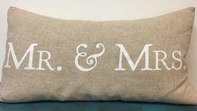 Image of a Mr. & Mrs. Burlap Pillow