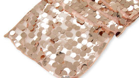 "Image of a 14"" x 108"" Large Payette Sequin Table Runner - Rose Gold"
