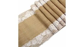 "Image of a 12"" x 108"" Burlap Runner with Outside White Lace"