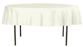 """Image of a 90"""" Round Polyester Tablecloths ~ Light Ivory"""