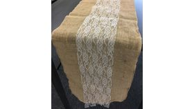"Image of a 12"" x 108"" Burlap Runner with Inside Ivory Lace"