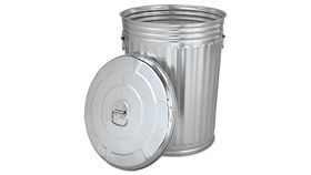 Image of a Silver Galvanized Trash Can