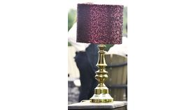 Image of a Brass Lamp with Burgundy Sequin Lampshade