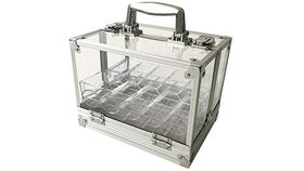 Image of a Accessory - 600 Chip Clear Acrylic Poker Chip Locking Carrier-Includes 6 Chip Racks