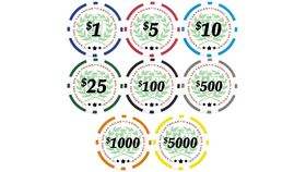 Image of a $1000 Orange Poker Chip Rental