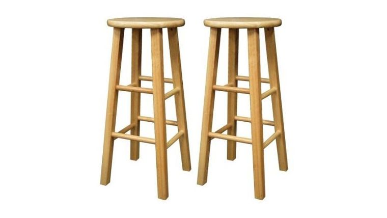 """Picture of a 29"""" Natural Wood Square Leg Barstool Rental"""