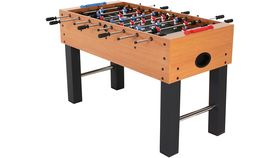 Image of a 4 Player Wood Finish Foosball Game With Abacaus-Style Scoring and Internal Ball Return Kit