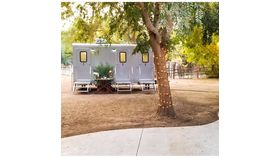 Image of a 3 Stall Silver Executive Restroom Trailer w/AC