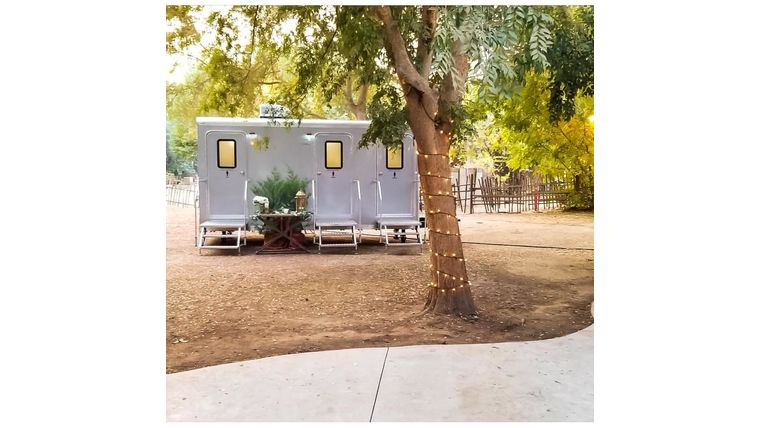 Picture of a 3 Stall Silver Executive Restroom Trailer w/AC