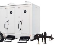 Image of a 3 Stall White Executive Restroom Trailer w/AC Rental