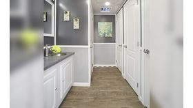 8 Stall White Executive Restroom Trailer w/AC & Heat Rental image