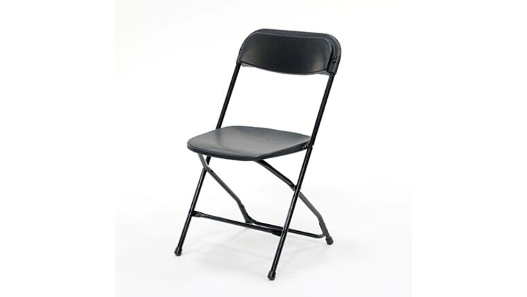 Picture of a Black Metal Folding Chair With Plastic Seat