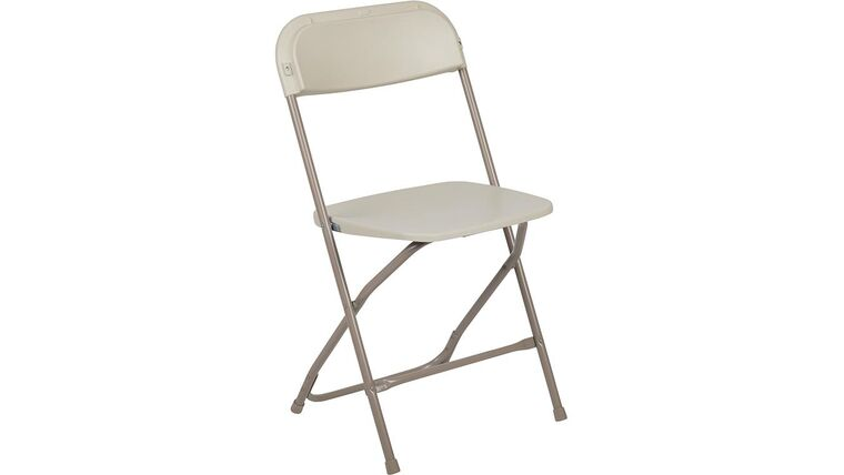 Picture of a Beige Metal Folding Chair With Plastic Seat