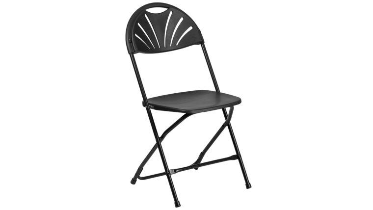 Picture of a Black Metal Fan Back Plastic Folding Chair