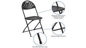 Black Metal Fan Back Plastic Folding Chair image