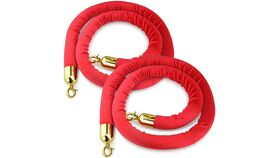 Image of a 5' Red Velour Stanchion Rope w/Gold Ends Rental