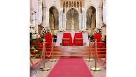 Brass Finish Metal Stanchion Post Only Rental image