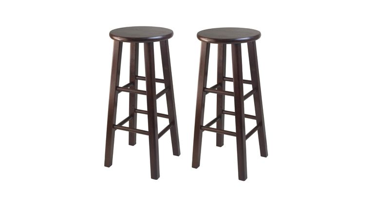 """Picture of a 29"""" Walnut Wood Square Leg Stool Rental"""