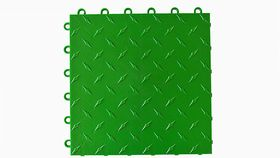"Image of a 12"" x 12"" Green ABS Diamond Garage Floor Tile Rental"