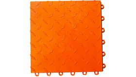 "Image of a 12"" x 12"" Orange ABS Diamond Garage Floor Tile Rental"