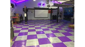 "Image of a 12"" x 12"" Purple ABS Diamond Garage Floor Tile Rental"