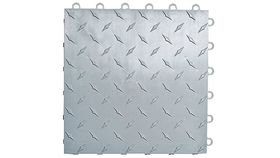 "Image of a 12"" x 12"" Silver ABS Diamond Garage Floor Tile Rental"