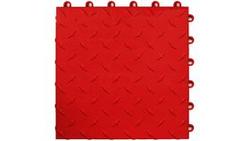 "Image of a 12"" x 12"" Red ABS Diamond Garage Floor Tile Rental"