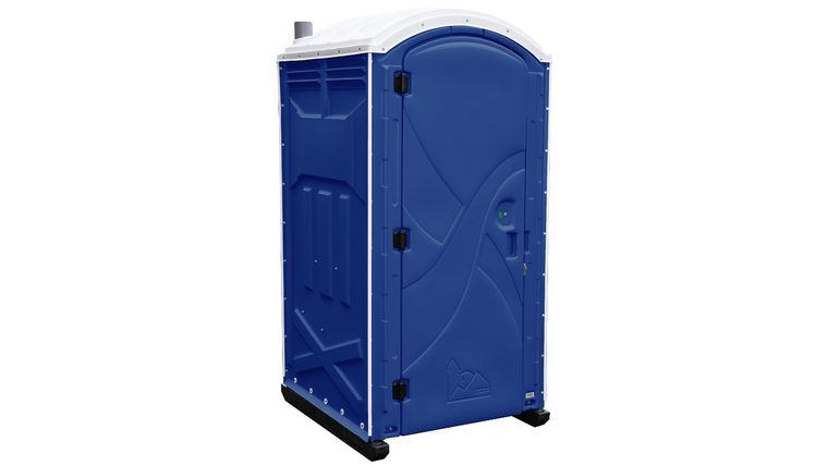 Picture of a Dark Blue Axxis Portable Restroom Unit Rental