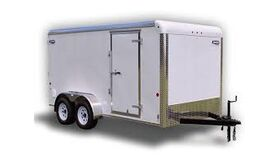 Image of a 7' x 14' x 6'H Enclosed Dual Axle Trailer With Ramp