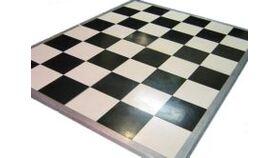 Image of a Gloss Black & White Small Checkerboard Vinyl Dance Floor - 4' x 4'