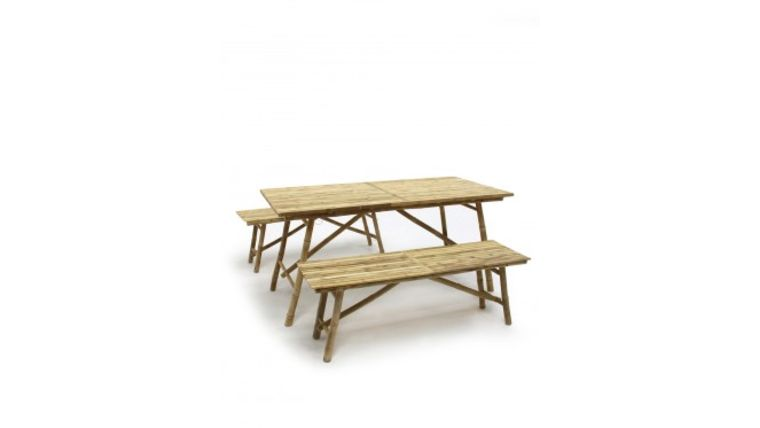 Picture of a Bamboo Table and Bench Package Rental