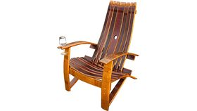Image of a Adirondack Wooden Wine Barrel Chair