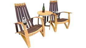 Image of a Adirondack Wooden Wine Barrel Chair & Table Set