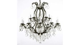 "Image of a 36""H x 36"" W Swarovski Crystal Trimmed Chandelier Wrought Iron Crystal Chandelier Lighting Dressed w/Crystal Ball"
