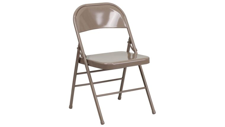 Picture of a Beige Metal Folding Chair With Resin Seat