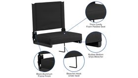 Black Grandstand Comfort Seats by Flash with Ultra-Padded Seat in Black image