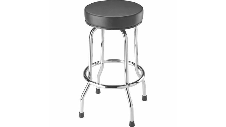 Picture of a Black Single Ring Leather Barstool With Chrome Legs