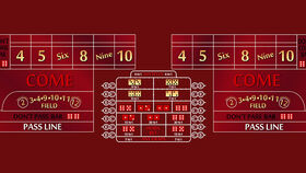 Image of a 14' Burgundy Craps Casino Game Table Kit